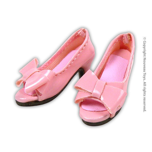 1 6 light pink bow open toe heel shoes